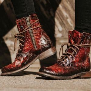 Freebird Manchester red croc boots